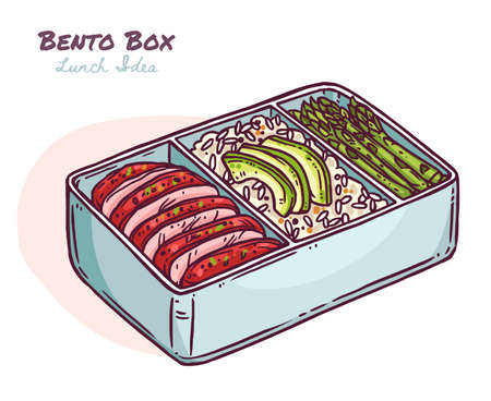 Japanese meal bento box with ready lunch idea, to go food in zero waste pacage. Healthy diet with rice, avacado, asparagus, canned stewed meat. Vector cute kawaii illustration in hand drawn sketch