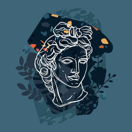 Trendy vector print with Apollo head statue. Line sketch drawing with abstract background, terrazzo and floral elements. Ancient classical greece sculpture of god. Modern linear art Ilustrace