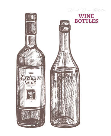 Two vector glass bottles with red and white wine. Sommelier and winery business symbol. Sketch hand drawn etching engraved illustration