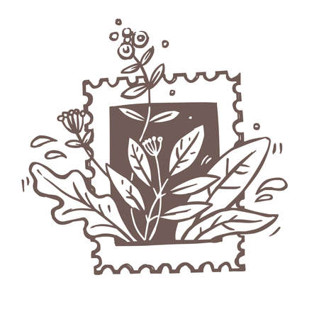 Vintage postage mark for love letter with  flowers, plants, foliage and leaves. Creative  concept for fashion brand or shop. Idea for label or sign. Sketch doodle drawn illustration Ilustrace