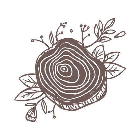 Vector tree slice with  flowers, plants, foliage and leaves, wood texture with rings.   emblem, label creative concept of handcraft or carpentry workshop. Sketch doodle drawn illustration