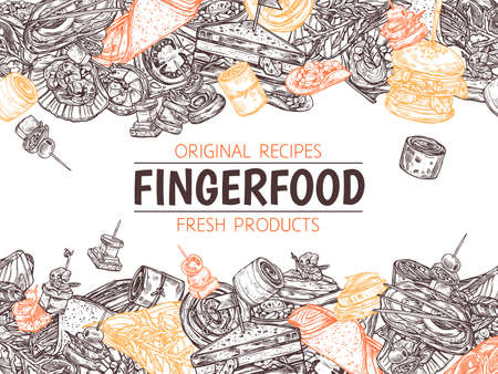 Poster with finger food background, template for menu, horizontal border. Snacks, appetizers, mini canapes, sandwiches, seafood, hamburger, rolls. Vector illustration in doodle hand drawn sketch style