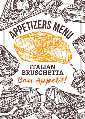 Appetizers menu vector hand drawn poster template. Italian bruschetta with red fish and basil sketch. Sandwich with bread slice, salmon and greenery line art. Snacks, finger food restaurant flyer