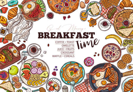 Breakfast menu vector hand drawn template. Restaurant dishes and drinks offer. Fresh fruits and baked cookies doodles. Coffee, toast, omelette and waffles morning meals illustration