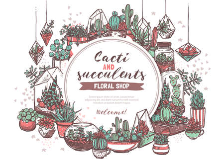 Cacti and succulents shop hand drawn web banner template. Floral store  poster design. Decorative houseplants circle frame with text space. Potted exotic plants and cactus sketches