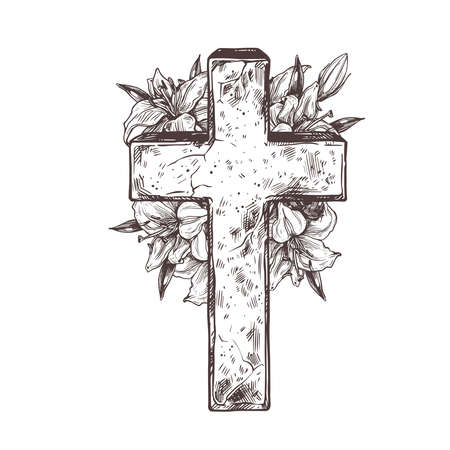 Christ stone crosse with wreath of white flowers lily. Vector hand drawn illustration. Symbol of christianity, church, Jesus, religion, catholicism. Isolated drawing sketch of sign of resurrection Ilustrace