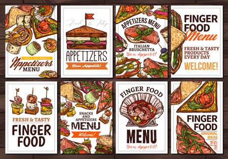 Finger food and appetizers hand drawn poster templates set. Tasty snacks cafe, restaurant menu brochures layout. Italian bruschetta, canape doodles. Delicious vegetarian rolls outline illustrations