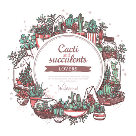 Foliage plants shop hand drawn web banner template. Cacti and succulents floral store vector poster design. Decorative houseplants circle frame with text space. Potted exotic cactus sketches