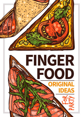 Finger food  hand drawn poster template. Homemade sandwiches with cheese, greenery and tomato outline illustration. Red fish, salmon on organic bread sketch. Appetizers for party brochure