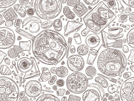 Food and dishes hand drawn  seamless pattern. Tasty breakfast, morning meal in plates doodles background. Pancakes, sandwiches, croissants sketch. Coffee cups and juice glasses illustration