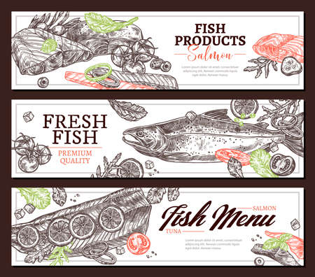 Fish products hand drawn  web banner templates set. Sea food restaurant menu posters layout pack. Salmon with lemon slices dish ingredients. Seafood and organic vegetables meal sketches Ilustracja