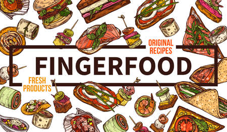 Finger food web banner hand drawn template. Takeaway dishes, appetizers sketch. Street food and fastfood restaurant poster layout. Takeout delicious sandwiches and burgers doodles