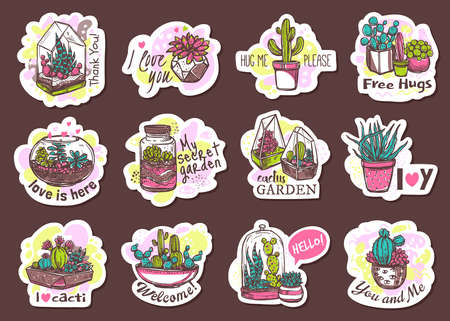 Houseplants cute hand drawn stickers set. Succulents with free hugs, thank you, welcome lettering pack. Cactus garden in pot and glass florarium patches collection. Exotic cacti outline illustration