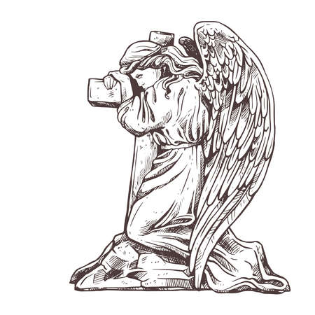 Old murble stone sad angel kneeling near the cross hugging it. Vector drawing isolated illustration for funeral business. Sketch christian symbol of death, cemetery, sorrow, burial, resurrection and a