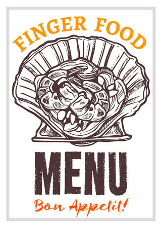 Seafood restaurant menu vector hand drawn poster template. Finger food, sea products snacks, marine cafe flyer, brochure layout. Bon appetit lettering. Mollusk, shrimps, scallop black and white sketch