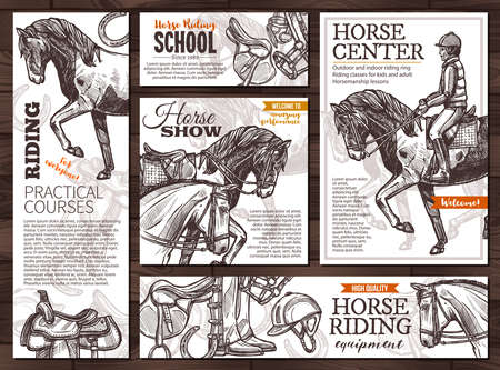 Collection of monochrome vector hand drawn cards for horse riding, school, lessons, equestrian club or academy, horseback equipment. Posters and banners with sketch illustrations with typography