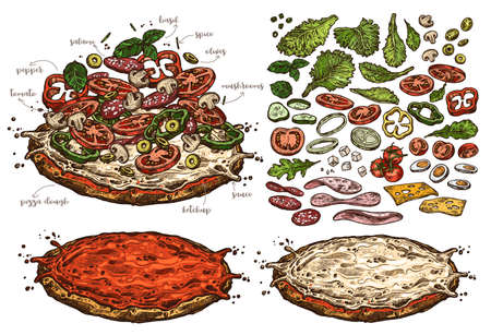 Big vector set of sketch elements, components and ingredients for italian pizza. Hand drawn collection of different products for design, menu and recipes