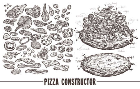 Big monochrome vector set of elements, components and ingredients for italian pizza.  collection of different products for design, menu and recipes