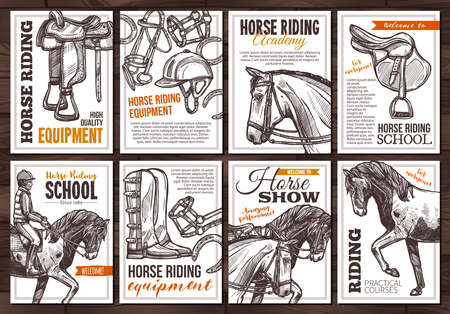Collection of vector hand drawn posters for horse riding, school, lessons, equestrian club or academy, horseback equipment. Monochrome cards with sketch illustrations with typography