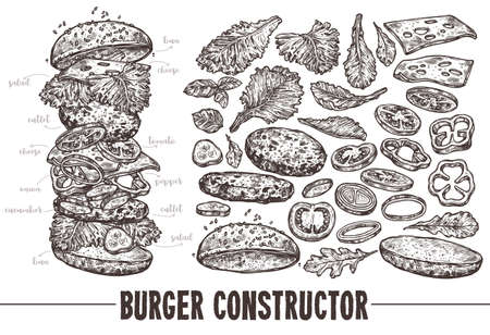 Hand drawn monochrome vector burger with ingredients. Sketch illustration of hamburger products components and elements. Constructor for fast food restaurant menu Banco de Imagens - 157346357
