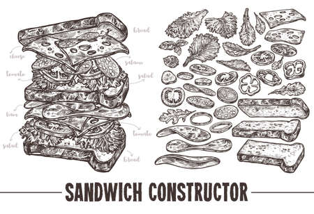 Hand drawn monochrome vector sandwich with ingredients. Sketch illustration burger products components and elements. Constructor for fast food restaurant menu