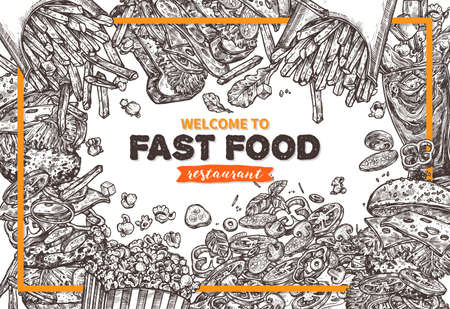 Sketch monochrome vector fast food colorful detailed illustration. Background with hand drawn hamburger, pop corn, sandwich, cola, french fries, italian pizza