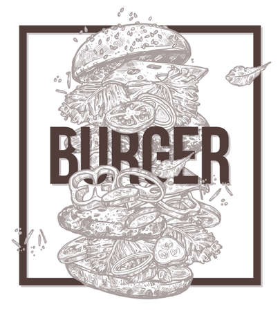 monochrome poster with flying burger.  vector illustration with ingredients and components for hamburger. Fast food design trendy concept with frame Ilustracja