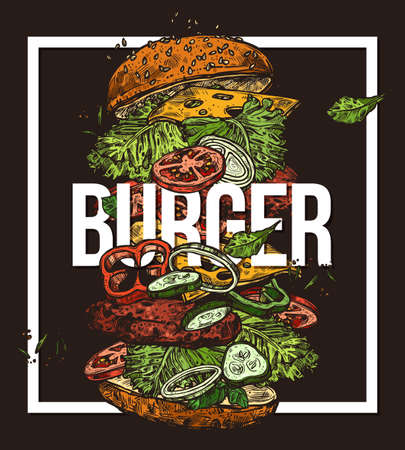 Sketch poster with flying burger. Hand drawn vector illustration with ingredients and components for hamburger. Fast food design trendy concept on black background with frame