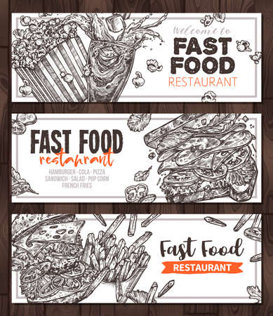 Sketch vector fast food monochrome horizontal banners. Templates of design with hand drawn hamburger, pop corn, sandwich, cola, french fries Banco de Imagens - 157346366
