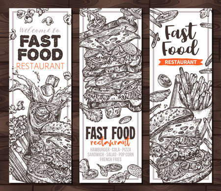 vector fast food monochrome vertical banners. Templates of design  hamburger, pop corn, sandwich,  french fries