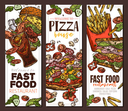 Sketch vector fast food colorful vertical banners. Templates of design with hand drawn hamburger, pop corn, pizza, sandwich, cola, french fries