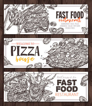 Sketch vector fast food monochrome horizontal banners. Templates of design  hamburger, pop corn, pizza, sandwich,  french fries Ilustracja