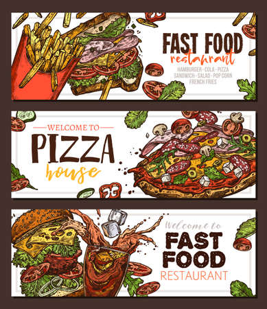 Sketch vector fast food colorful horizontal banners. Templates of design with hand drawn hamburger, pop corn, pizza, sandwich, cola, french fries Ilustracja