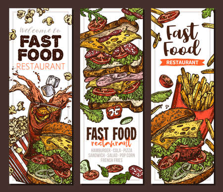 Sketch vector fast food colorful vertical banners. Templates of design with hand drawn hamburger, pop corn, sandwich, cola, french fries