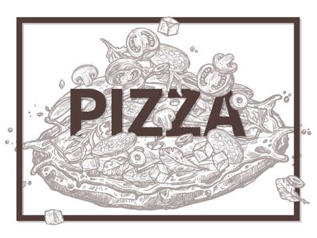 Sketch vector poster with pizza, different ingredients and typography. Trendy hand drawn illustration