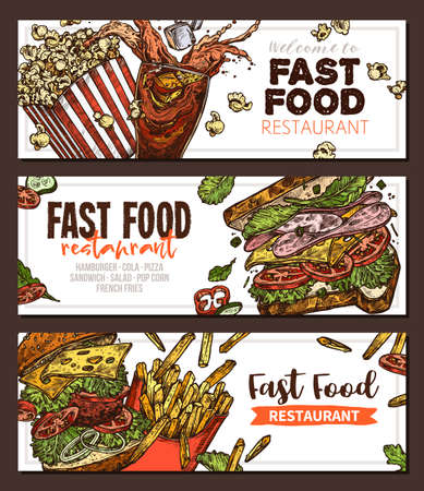 Sketch vector fast food colorful horizontal banners. Templates of design with hand drawn hamburger, pop corn, sandwich, cola, french fries