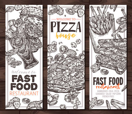 Sketch vector fast food monochrome vertical banners. Templates of design with hand drawn hamburger, pop corn, pizza, sandwich, cola, french fries Ilustracja