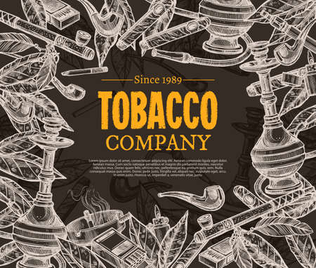Vector hand drawn posters with tobacco and smoking collection on chalkboard. Sketch background with cigarettes, cigars, hookah, tobacco leaves, pipes
