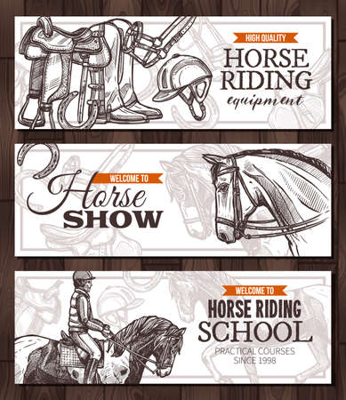 Vector hand drawn monochrome horizontal banners with horses, equestrian sport and equipment for horseback riding. Design with sketch engrawind illustration