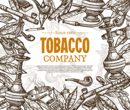 Vector hand drawn posters with tobacco and smoking collection. Monochrome sketch background with cigarettes, cigars, hookah, tobacco leaves, pipes Ilustracja