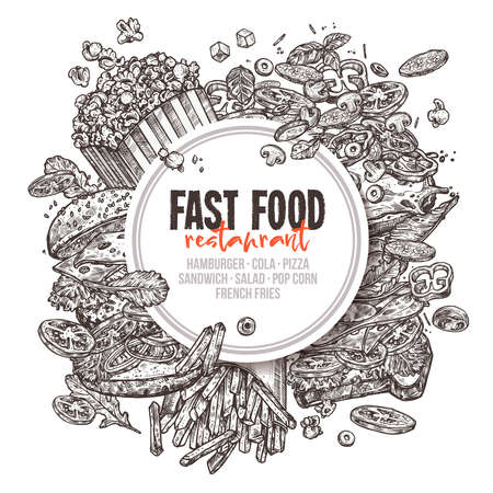 Vector hand drawn fast food background with round lable. Monochrome design for restaurant with sketch of hamburger, pop corn, sandwich, french fries, italian pizza