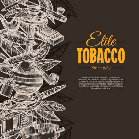 Vector sketch posters with tobacco and smoking collection on chalkboard. Hand drawn background with cigarettes, cigars, hookah, tobacco leaves, pipes