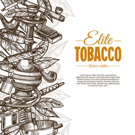 Vector sketch posters with tobacco and smoking collection. Monochrome hand drawn background with cigarettes, cigars, hookah, tobacco leaves, pipes Ilustracja