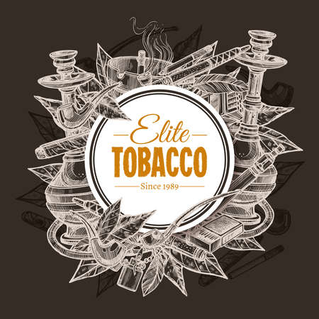 Vector round hand drawn posters with tobacco and smoking collection on chalkboard. Sketch background with cigarettes, cigars, hookah, tobacco leaves, pipes Ilustracja