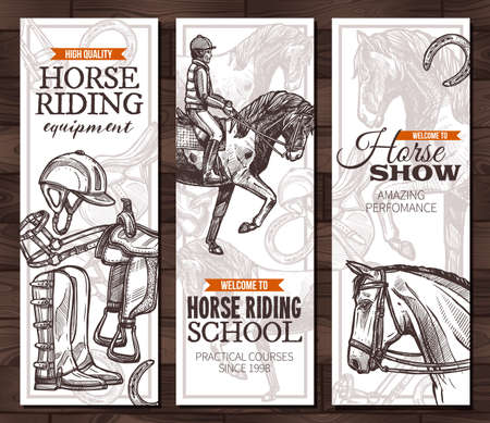 Vector monochrome hand drawn vertical banners with horses, equestrian sport and equipment for horseback riding. Design with sketch engrawind illustration
