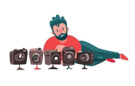 Adult photographer with a lot of photo cameras. Flat cute cartoon character, professional reporter or photojournalist at work. Creative profession and occupation. Vector illustration