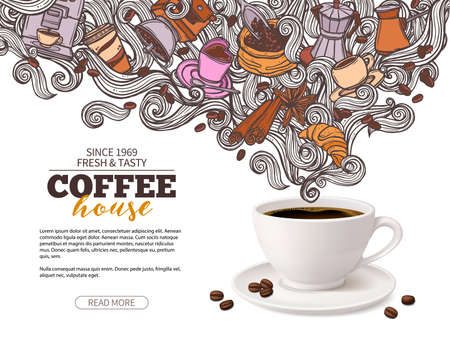 Coffee advertising poster design with 3d coffee cup and hand drawn doodle beans, croissant, mug of beverage and swirls in steam. Illustration with mixing realistic and cartoon sketch styles Ilustração