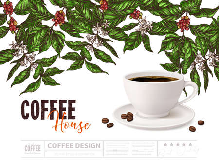 Coffee advertising concept with cup of beverage on white background with drawing of coffee tree branches. Vector poster design with 3d realistic mug and sketch hand drawn plant. Coffee house Ilustração