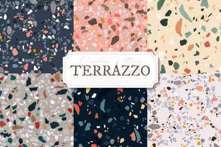 Collection of vector terrazzo abstract backgrounds. Stone and rock textures for floor tiles with granite, quartz, marble and concrete. Set of seamless patterns