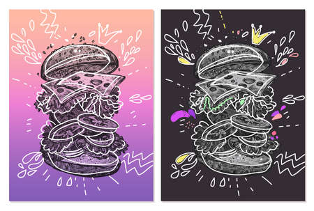 Creative vector posters with hamburger. Fast food illustrations with mixed styles doodles and hand drawn engraved with gradient and vibrant colors. Trendy sketch design of posters for restaurant, menu Ilustração